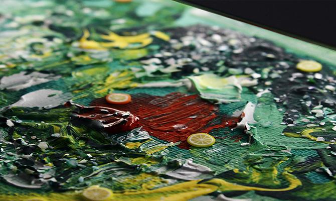 緑色の油絵の拡大