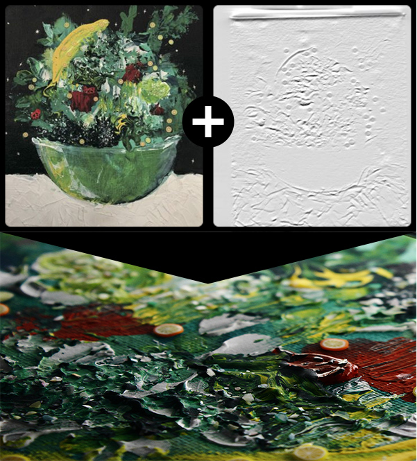 油絵全景とそのレリーフ、油絵表面の拡大